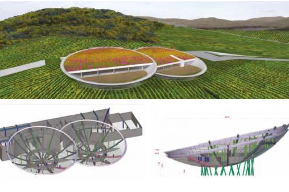 A Sauska borászat kétszer görbült vasbetonszerkezetei